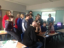pupils and animator learning about computer animation