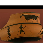 Runners on a greek pot